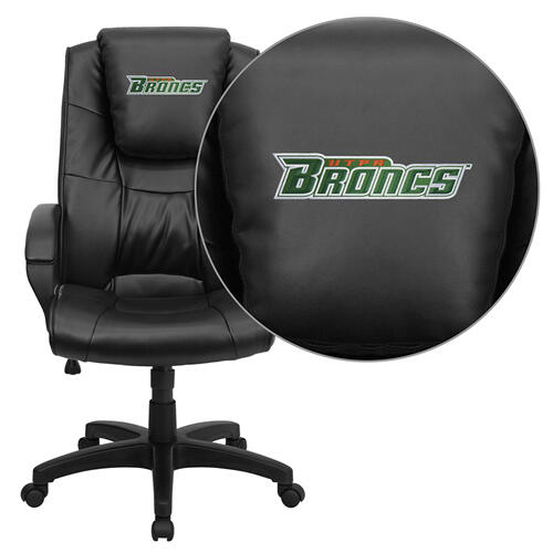 Texas - Pan American Broncs Embroidered Black Leather Executive Office Chair