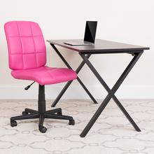 View Product - Mid-Back Pink Quilted Vinyl Swivel Task Office Chair with Arms