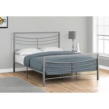 BED - QUEEN SIZE / SILVER METAL FRAME ONLY