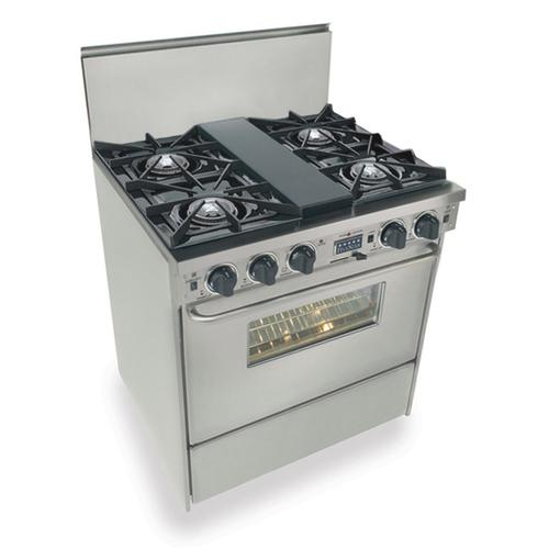 """Five Star - 30"""" Dual Fuel, Convect, Self Clean, Open Burners, Stainless Steel"""