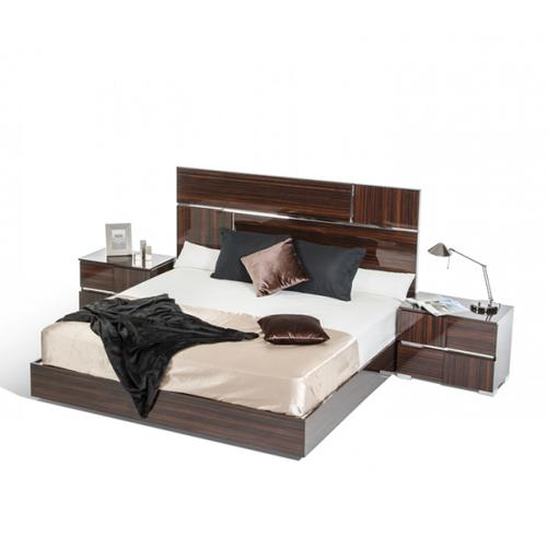 Modrest Picasso Italian Modern Ebony Lacquer Bed