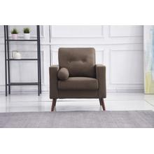 See Details - 8133 BROWN Linen Stationary Tufted Chair