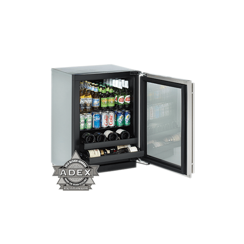 """U-Line - Stainless Right hand 3000 Series / 24"""" Beverage Center / Digitally Controlled Single-Zone Convection Cooling System"""