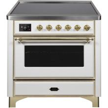 Majestic II 36 Inch Electric Freestanding Range in White with Brass Trim