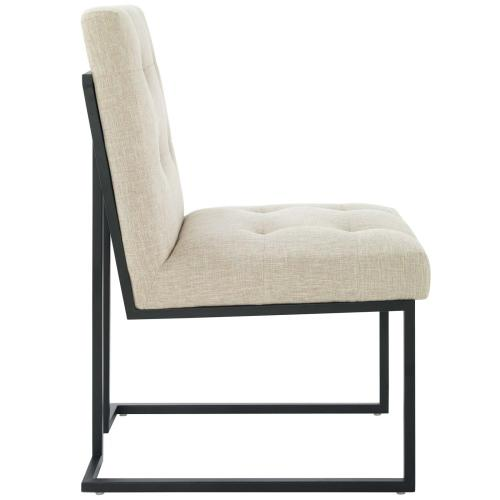 Privy Black Stainless Steel Upholstered Fabric Dining Chair in Black Beige