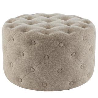 See Details - Lulu Round Fabric Tufted Ottoman, Minuet Linen