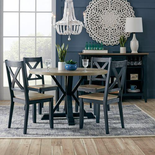 Liberty Furniture Industries - 5 Piece Pedestal Table Set- Navy