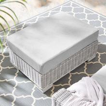 Conway Sunbrella® Outdoor Patio Wicker Rattan Ottoman in Light Gray Gray
