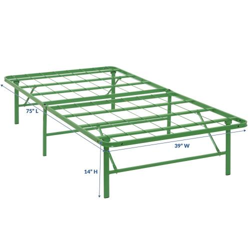 Horizon Twin Stainless Steel Bed Frame in Green