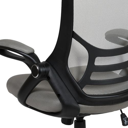 Flash Furniture - High Back Light Gray Mesh Ergonomic Swivel Office Chair with Black Frame and Flip-up Arms