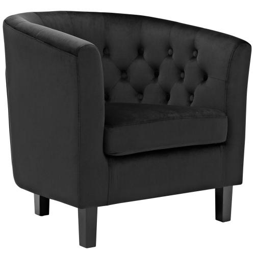 Prospect 3 Piece Performance Velvet Loveseat and Armchair Set in Black