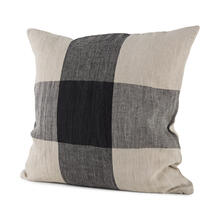 Raquel 18L x 18W Beige and Black Fabric Plaid Decorative Pillow Cover
