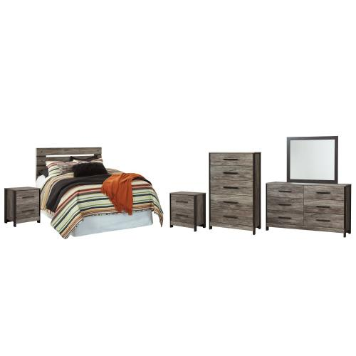 Product Image - Full Panel Headboard With Mirrored Dresser, Chest and 2 Nightstands