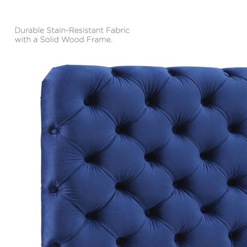 Lizzy Tufted King/California King Performance Velvet Headboard in Navy