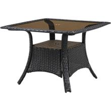 Hanover Strathmere 41 in. Square Glass Top Woven Dining Table, 140-TQ