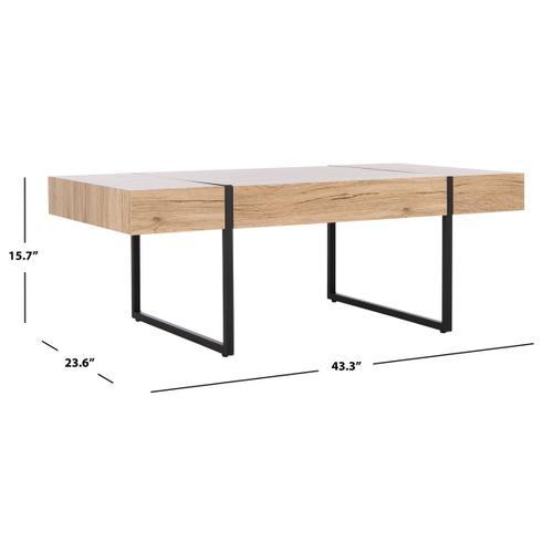 Safavieh - Tristan Rectangular Modern Coffee Table - Natural/black Metal Legs