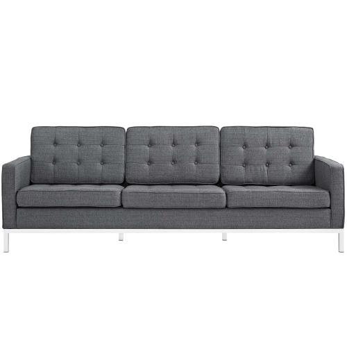 Loft Upholstered Fabric Sofa in Gray