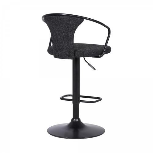Armen Living - Ian Contemporary Adjustable Barstool in Black Powder Coated Finish and Black Fabric