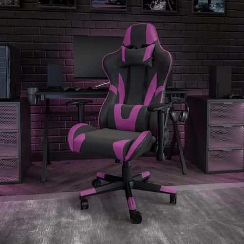 Gallery - X20 Gaming Chair Racing Office Ergonomic Computer PC Adjustable Swivel Chair with Fully Reclining Back in Purple LeatherSoft