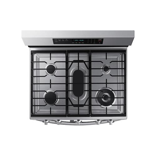 Samsung - 6.0 cu. ft. Smart Freestanding Gas Range with Flex Duo™, Stainless Cooktop & Air Fry in Stainless Steel