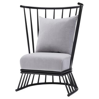 See Details - Jupiter KD Velvet Fabric Metal Accent Chair, Gallery Gray