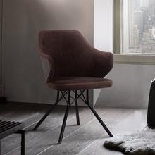 Darcie Mid-Century Dining Chair in Black Powder Coated Finish with Brown Velvet and Walnut Glazed Wood Finish Back