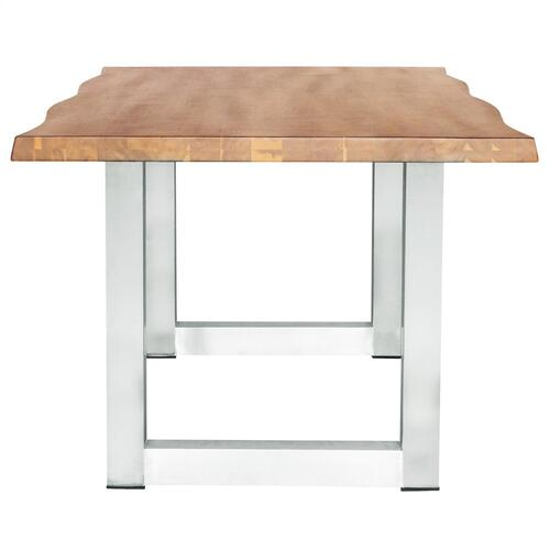 """Windsor 79"""" KD Live-Edge Dining Table Stainless Steel Legs, Natural"""