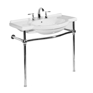 White NOUVEAU Console Lavatory with Polished Chrome Metal Finish Product Image