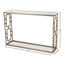 Brass Gate Console Table W/ Wht Marble