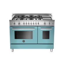 View Product - 48 6-Burner + Griddle, Electric Self-Clean Double Oven Azzurro