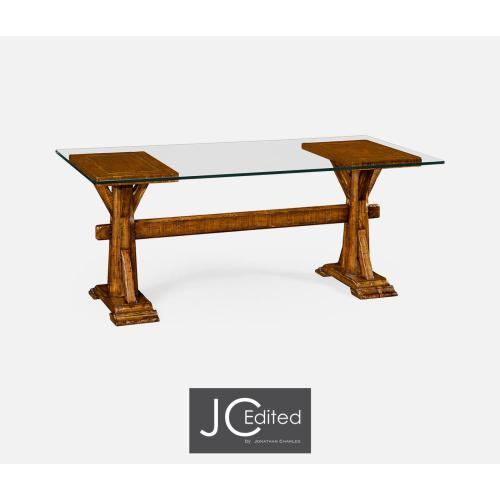 Walnut Country Desk for Glass Top