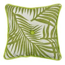 Capri Fern Tufted Throw Pillow, White & Green Linen