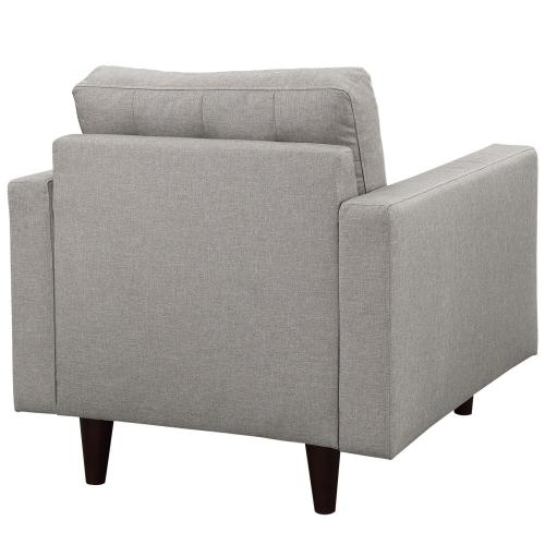 Empress Upholstered Fabric Armchair in Light Gray