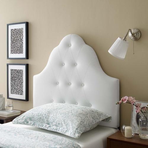 Sovereign Twin Upholstered Vinyl Headboard in White