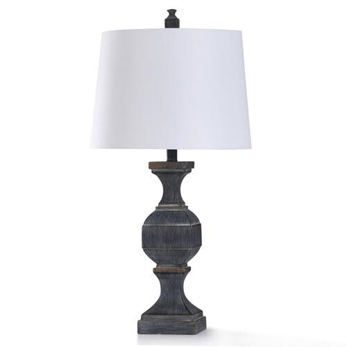 MALTA BLACK TABLE LAMP  15in w. X 30in ht. X 15in d.  Traditional Rubbed Slate Finish Baluster Sty