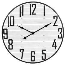 White Slat Wood Clock with Black Frame and Numbers