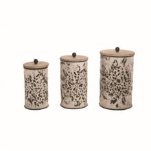 View Product - Shibori Flower Nested Canisters, Set of 3