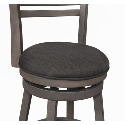 Upholstered Seat and 360-degree Swivel Barstool, Grey