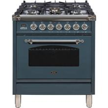 Nostalgie 30 Inch Dual Fuel Natural Gas Freestanding Range in Blue Grey with Chrome Trim