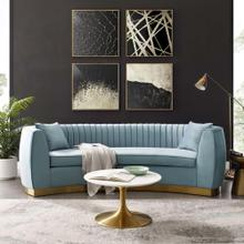 Enthusiastic Vertical Channel Tufted Curved Performance Velvet Sofa in Light Blue