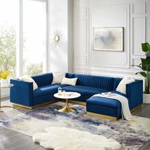 Sanguine 3 Piece Performance Velvet Sectional Sofa Set in Navy