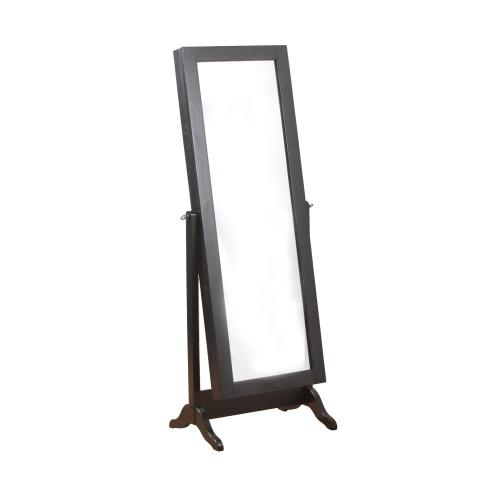 Sliding Jewelry Armoire With Full Length Adjustable Mirror, Black