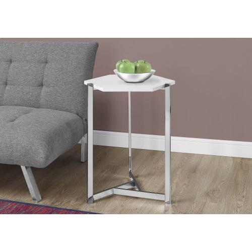 Gallery - ACCENT TABLE - HEXAGON / GLOSSY WHITE / CHROME METAL