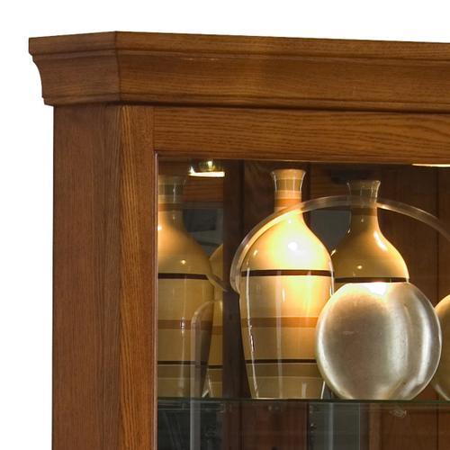 Pulaski Furniture - Mirrored 4 Shelf Corner Curio Cabinet in Golden Oak Brown