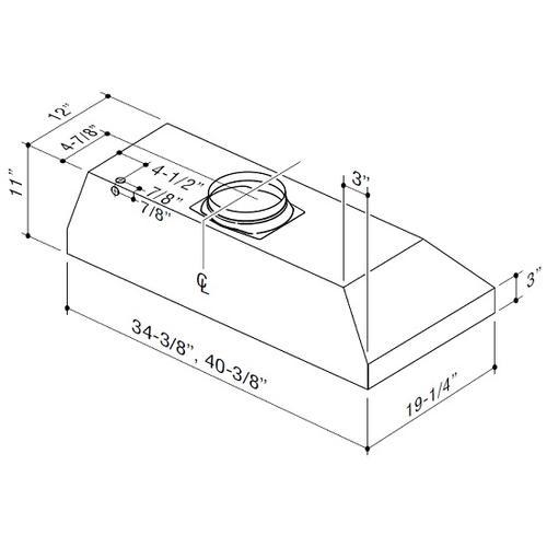 "BEST Range Hoods - 36"" Stainless Steel Built-In Range Hood with iQ6 Blower System, 800 Max CFM"