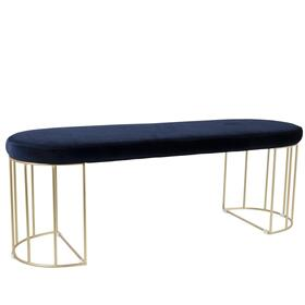 Canary Bench - Gold Metal, Royal Blue Velvet