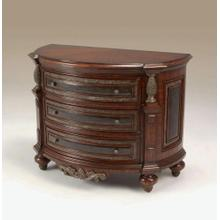 Maltese Brown Finished Mahogany Bedside Chest, Black Leather, Pompeian Brass Mounts