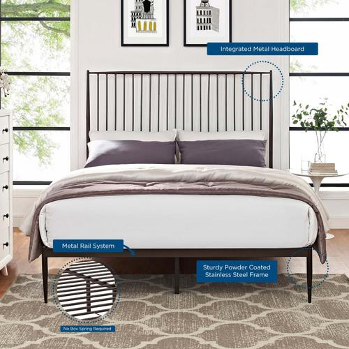 Annika Queen Platform Bed in Brown