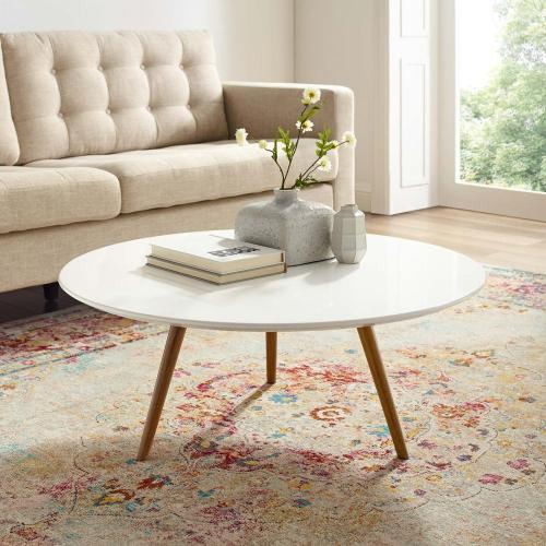 """Lippa 36"""" Round Wood Top Coffee Table with Tripod Base in Walnut White"""