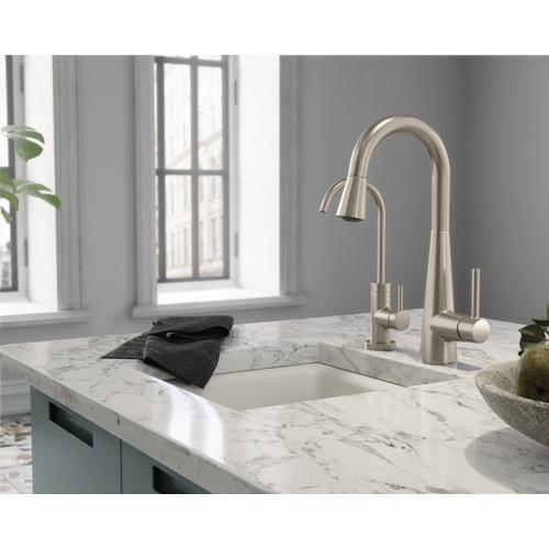Product Image - Sleek Matte black one-handle high arc pulldown bar faucet